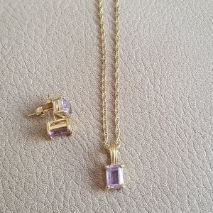 Amethyst + gold necklace + earring matching set